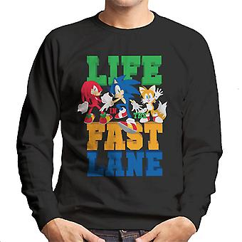 Sonic The Hedgehog Life In The Fast Lane Miesten&s Collegepusero