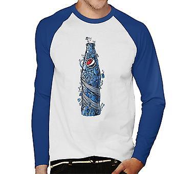 Pepsi Doodle Bottle Men's Baseball Long Sleeved T-Shirt