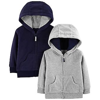 Simple Joys by Carter's Boys' 2-Pack Fleece Full Zip Hoodies, Gray/Navy, 12 M...
