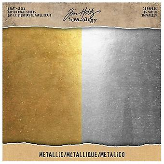 Idé-ologi Tim Holtz Kraft-Stock 8x8 Tommer Metallic 36 Ark