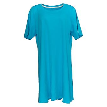 Isaac Mizrahi Live! Petite Dress Essentials Pima Cotton Aqua Blue A351508