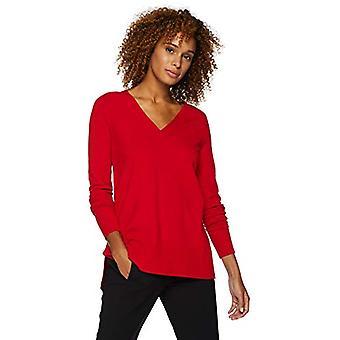 Lark & Ro Frauen's Langarm übergroße Doppel V-Ausschnitt Pullover, rot, X-Small