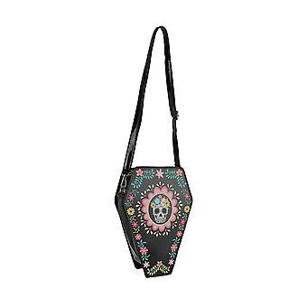 Day of the Dead Sugar Skull Coffin Shaped Convertible Mini Backpack / Crossbody Purse
