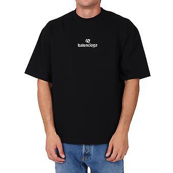 Balenciaga 612966tjvd91034 Männer's schwarze Baumwolle T-shirt