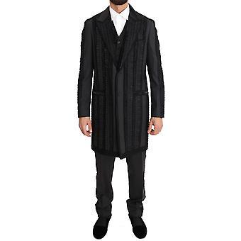 Dolce & Gabbana musta villa silkki torero pitkä 3-osainen puku KOS1105-3