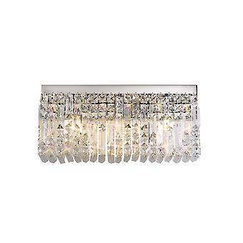 Luminosa Beleuchtung - 50x24cm rechteckige große Wandleuchte, 3 Licht E14, poliert Chrom, Kristall