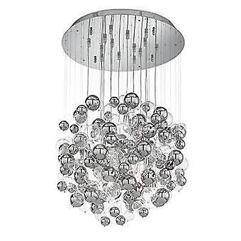 Ideale Lux Bollicine - 14 Licht geblazen glazen bellen cluster hanger chroom, G9