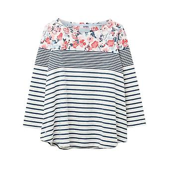 Joules Harbour Light Swing Jersey Top (cream Blue Floral Border)