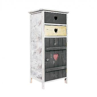 Rebecca Bedside Furniture Cabinet 2 drawers 1 door grey wood Shabby Kitchen