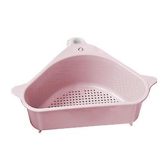 Coador de pia triangular da cozinha, dreno vegetal e cesto de frutas