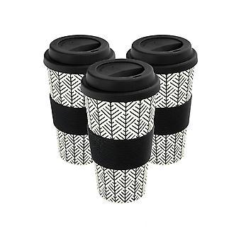 Copos de café reutilizáveis - Canecas de Viagem de Fibra de Bambu com Tampa de Silicone, Manga - 400ml (14oz) - Geométrico - Preto - x3