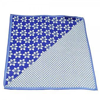 Ties Planet Antonio Boselli Royal Blue & White Spots & Flowers 2-utas Pocket square zsebkendő