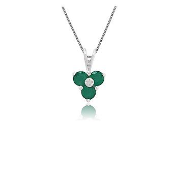 Classic Round Emerald & Diamond Cluster Pendant Necklace in 9ct White Gold 25383