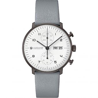 Junghans Max Bill Chronoscope Automatic White Dial Grey Leather Strap Mens Watch 027/4008.05