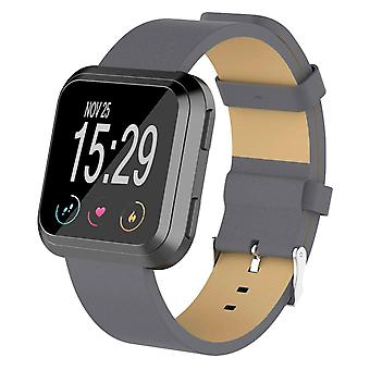 For Fitbit Versa 2/Versa/ Lite Genuine Leather Band Replacement Wristband Strap[Grey]