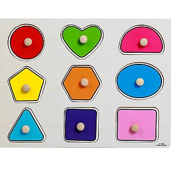 Baby Hand Grasp Wooden Puzzle, Alphabet And Digit Learning Toy For Kid Early
