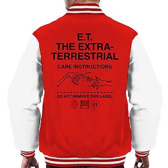 E.t. Las instrucciones de cuidado extraterrestre Hombres's Chaqueta Varsity