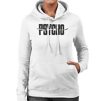 Psycho Black Text Logo Women's Hooded Sweatshirt