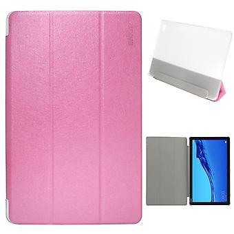 ENKAY Silke Textur + Plast Bottenfodral Horisontell Flip Läderfodral för Huawei MediaPad M5 Lite 10,1 tum , med tre-vikning Hållare & Sömn / Wake