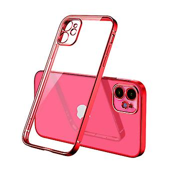 PUGB iPhone 12 Pro Case Luxe Frame Bumper - Case Cover Silicone TPU Anti-Shock Red