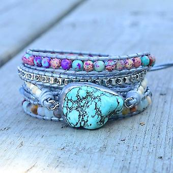 Unique Mixed Natural Stones Turquoises Charm, Wrap Handmade Boho Bracelet