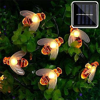 Solar Powered Cute Honey Bee, Led String Fairy Light, Outdoor Garden, Fence