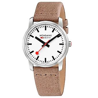Mondaine simplesmente elegante quartzo branco dial marrom cinta de couro relógio a400.30351.16SBG