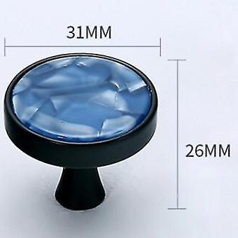 Cabinet Hardware Knob Single Hole Round Drawer Handle Blue Jade Large