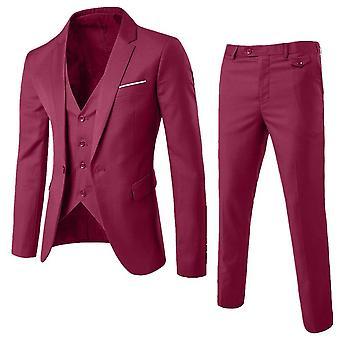 Hombres 3 Piezas Conjuntos Clásicos De Negocios Blazer +vest + Pantalones Sets