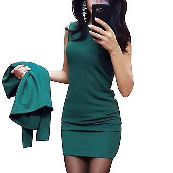 Women's Sexy Sheath O-neck Mini Dress Casual Coat Two Pieces Solid Formal Suits