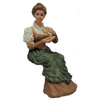Dolls House viktorianska Lady Sitter W Kopp Te Människor Harts Figur