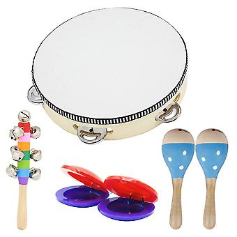 6pcs Musical Instruments Toy Children's Percussion Set Sand Hammer Tambourine Triangle iron Rhythm Band