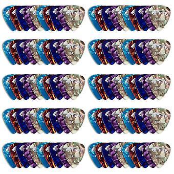 Tiger 100pcs guitar plectrums - variety of colours & gauges matte mixed gauge pack of 100