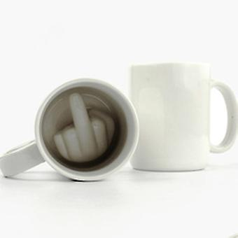 Hot Arrival Creative Design White Middle Finger Style Novelty Mixing Coffee Milk Cup Funny Ceramic Mug Enough Capacity Water Cup