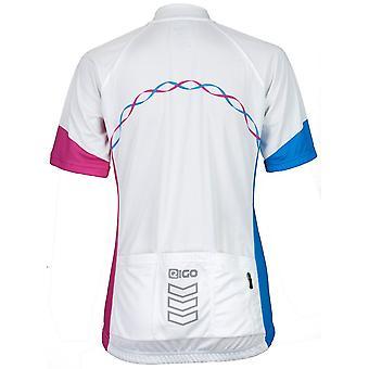 Eigo Ribbon Femmes Short Sleeve Cycling Jersey Blanc / Cyan / Magenta