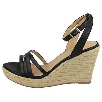Spot em mulheres/senhoras corda Wedge Strappy sandálias