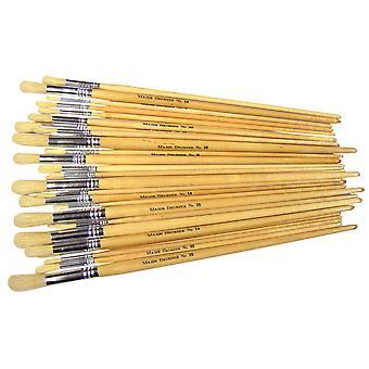 Major Brushes Hog Long Round Pack 60 /10 x sizes 4, 6, 8, 10, 14, 18