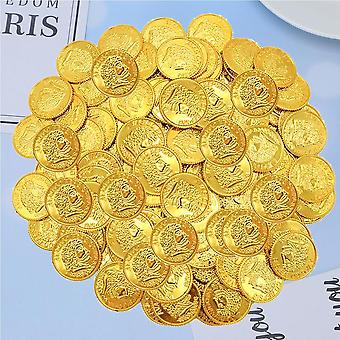 100pcs Pirates Plastic Gold Coins Props Game Accessary