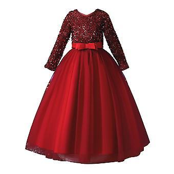 Flitre Čipka Dievčatá s dlhým rukávom Party Dresse Red 7-8Years Starý