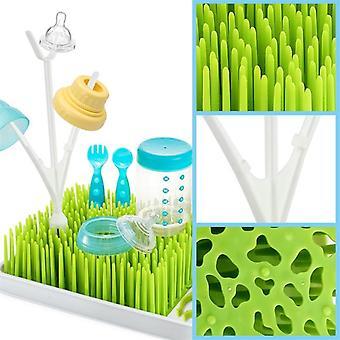 Bpa gratis grønt gress stil benkeplate baby flaske tørking rack med vann brett