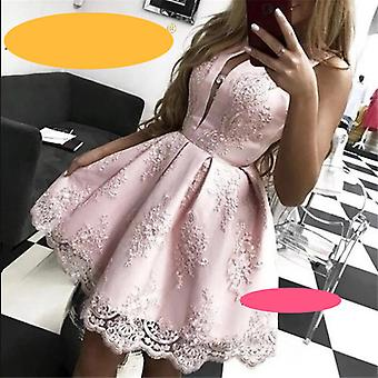 Homecoming Dresses A-line Jewel Neck Sleeveless Lace Appliques Above Knee