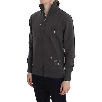 Gray Cotton Stretch Full Zipper Sweater