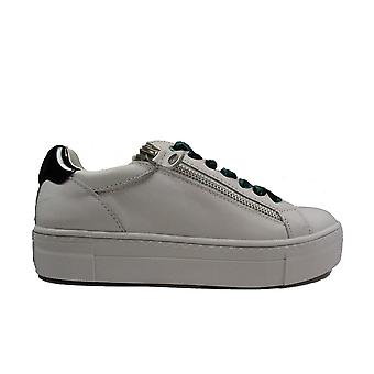 Tamaris 23312 White Leather Womens Lace Up Trainers