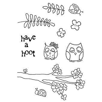 Polkadoodles klar stempel - Shabby Owl Blossom A6