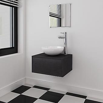 vidaXL 4-pcs. Bathroom furniture set with sink and faucet Black