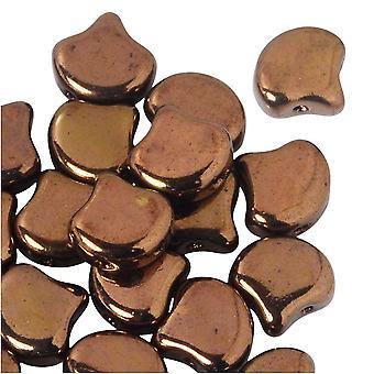 Tjeckiskt glas, 2-håls Ginko pärlor 7,5mm, 10 gram, Jet Bronze