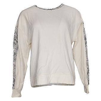 أي شخص المرأة دافئ متماسكة تيري الحيوان طباعة قميص العاج A381288