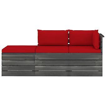 vidaXL 3 pezzi. Set di divani da giardino in pallet con cuscini in legno di pino