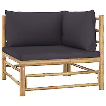 vidaXL 2 stuks. Tuin lounge set met kussen donkergrijs bamboe