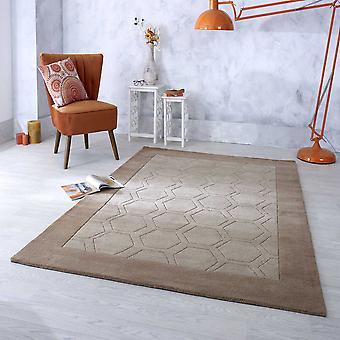 Hex Border Geometric Wool Rugs In Beige